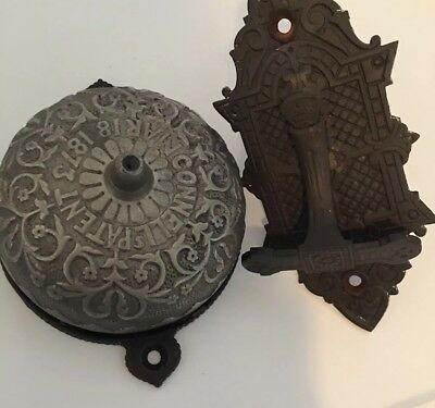 Victorian 1873 Patent Connell's Patent Doorbell Ornate Antique Vintage 1874