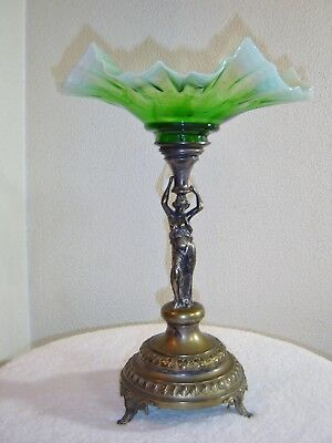 Large Antique Brass/Bronze and Art Glass Figural Compote