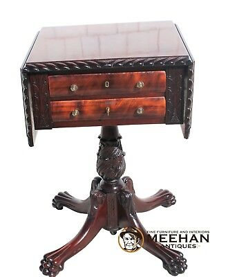 Antique Empire Revival Style Sewing Stand Side Table
