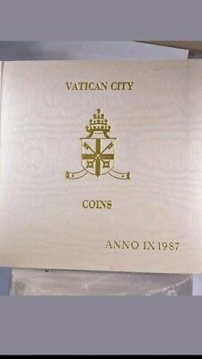 1987 Vatican City Coins Set In a Folder Pope John Paul II Mint Set Catholic