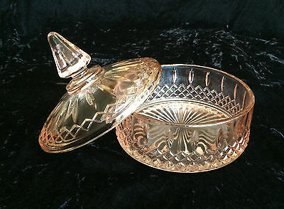 Vintage Indiana Glass Pink Princess Pattern Candy Dish With Lid Giftware US Made