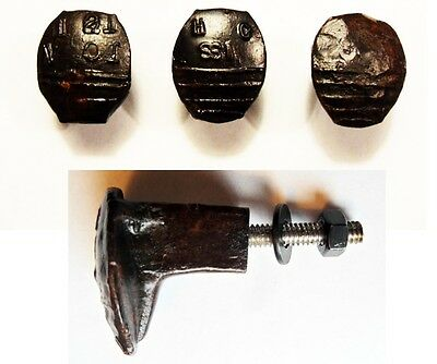 3 Railroad Spike Knobs Door Pulls Cupboard Dresser Drawer Antique Vintage Rustic