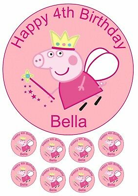 Large 19cm PEPPA PIG Edible Wafer / Rice Paper Cake Topper & 8 x Cupcake Toppers