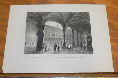 c1840 Antique Print///COURT OF THE PALACE OF THE PRINCE BISHOP OF LIEGE, BELGIUM