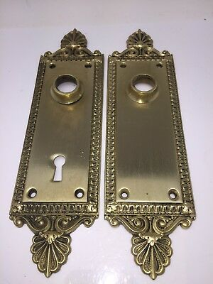 Antique Solid Brass Pair Decorative Door Knob Plates Jerome USA