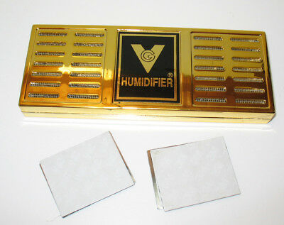 NEW Ultra-Gel Brass Humidor Humidifier Rectangle Magnet Mount Up to 250 Cigars