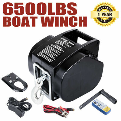 6500LBS 12V Electric Boat Winch Portable Detachable 10M Steel Cable Ship Trailer