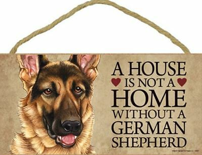"House is Not Home without a German Shepherd Sign Plaque Dog 10"" x 5"""