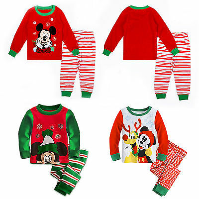 Kids XMAS Christmas Pyjamas Set 2PCS Mickey Mouse Nightwear Sleepwear Pyjamas