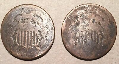 2 Mixed date 2 cent pieces
