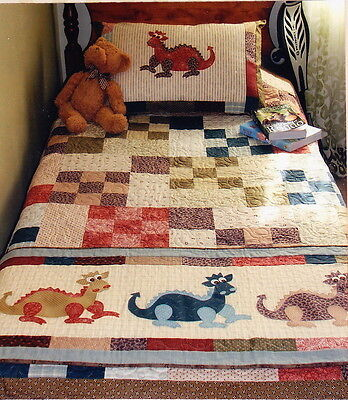 Daring Dragons - applique & pieced quilt, runner, & pillowcase PATTERN