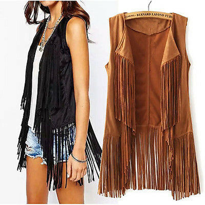 Women's Faux Suede Fringe Vest Shawl Collar Sleeveless Outerwear Boho Hippie