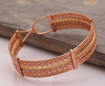 Retro Magnetic Healing Therapy Copper Bracelet Cuff Tibetan Pain Relief Bangles
