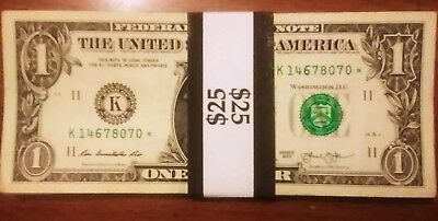 Lot of 25 $1 Federal Reserve ⭐Star Notes ⭐ 2013 circulated notes