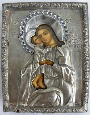 19c RUSSIAN ORTHODOX ICON OF MADONNA SEEKING OF THE LOST sIlver oklad