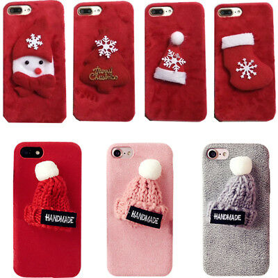 Winter New Year Christmas Gift New Cute Knit Plush Case Cover For Apple iPhone
