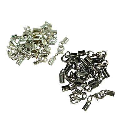 24 Sets Brass Wire Cord Ribbon Crimp Ends Clasp 12mm DIY Jewelry Findings