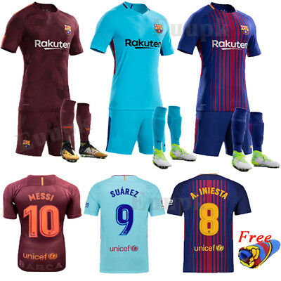 2017-18 Football Kits Club Jersey Short Sleeve Kids Boy Youth Sport Outfit +Sock