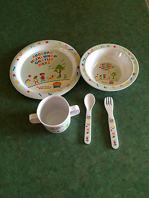 5 Piece Childrens Mealtime Set: Plate, Bowl, Cup, Fork and Spoon