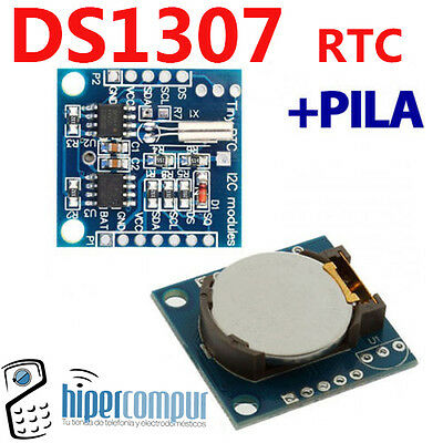 DS1307 RTC module watch with battery I2C Arduino micro pic battery tiempo real