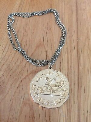 "Caesars Lake Tahoe Nevada Gold Medallion Necklace 28"" *MAKE AN OFFER*"