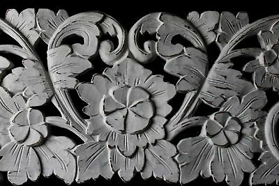 """Balinese high relief Architectural Panel Carved wood Whitewash Bali Art Wall 40"""""""