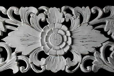 Balinese Carved Wood Relief Ventilation Panel Architectural Wall art Whitewash