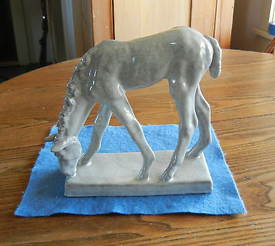 German Antique Ceramic / Grazing Spring Foal Horse by Else Bach w/Label