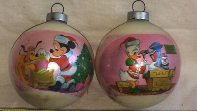 Vtg Glass Christmas Ornament Disney Micky Mouse Donald Duck Circa 1970s 2 pc SET