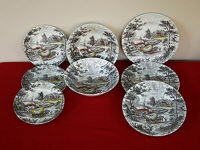 8Pc Staffordshire Yorkshire Multicolor 3 Dinner Plate +2 Salad +2 Vegetable Bowl