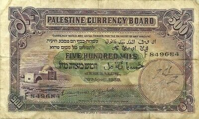 PALESTINE CURRENCY BOARD 500 MILS 1939 ~ P-6c ~ NICE COLOR CRISP PAPER NICE F/VF