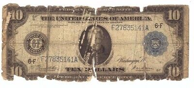 1914 US Large Size Blue Seal $10 Federal Reserve Note Collector Currency! C5141