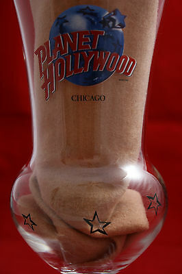 """Planet Hollywood Chicago Hurricane Bar Ware Glass 8.25"""" Tall"""