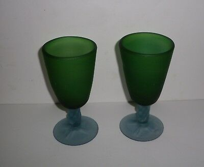 Vintage Hand Blown Green Phoenician Glass Vessels With Applied Stems