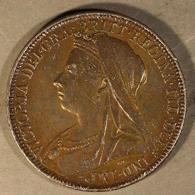 1900 Great Britain Silver Florin Original Tone + Details** FREE U.S. SHIPPING **