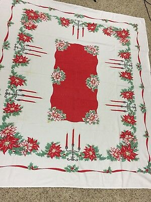 "VTG Christmas Tablecloth Classic Red White Candles 52"" X 60"" Soft Worn"