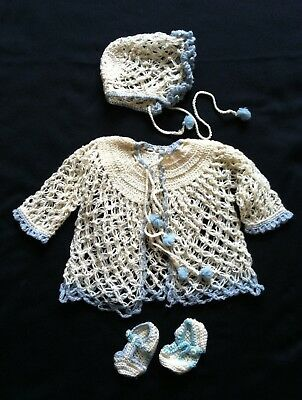Antique Vintage Baby or Doll Layette Set Crochet Sweater Hat Booties Blue White