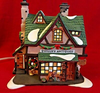 Dept 56 Dickens Village Quilly's Antiques 58348 Christmas Snow store shop