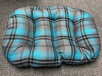 SMALL TEAL TARTAN Cotton Dog Cat Bed Cushion To Put In Bottom Of Basket UK Made