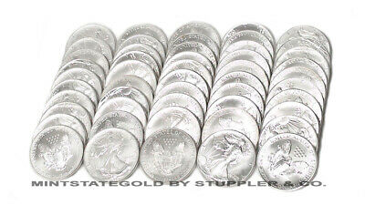 50 BU 1oz U.S Silver Eagles Mixed dates Brilliant Uncirculated bullion coins Lot