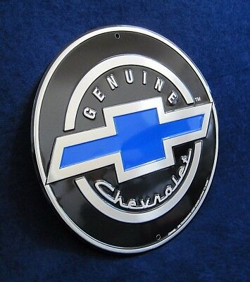 Genuine Chevrolet Chevy Bow Tie Embossed Tin Metal Sign - Garage Shop Man Cave