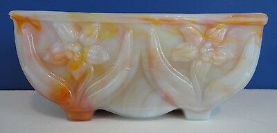 Vintage~AKRO AGATE Slag Glass~6 COLOR PLANTER Bowl~DOUBLE LILY #657~Fully Marked