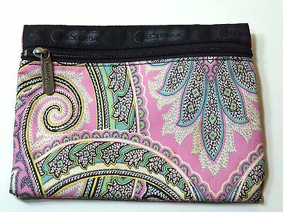 Le Sportsac Pink Paisley Zipper Pouch Cosmetic Bag
