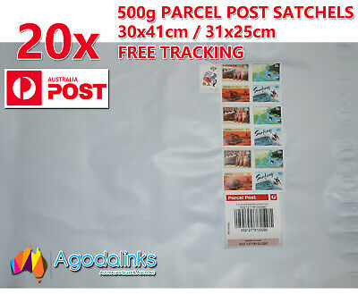 20x 500g Australia Parcel Post Satchel Prepaid $7.95 with Tracking 30x41 / 31x25