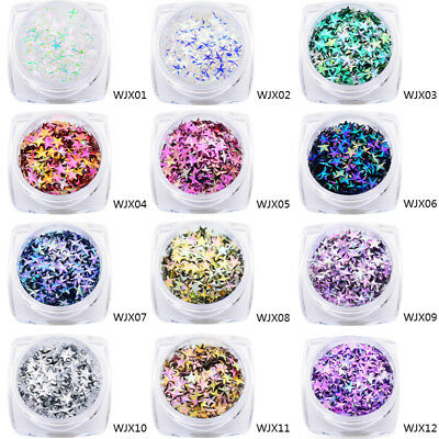 Nail Art Chameleon Holographic Sequins Glitter Star Flakes Manicure Decor Tips