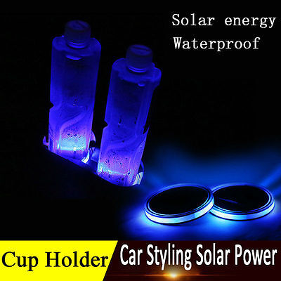 2X Solar Cup Holder Bottom Pad LED Light Cover Trim Atmosphere Lamp Decor