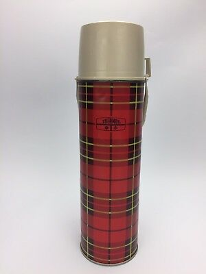 Vintage Thermos Red Plaid Cup Lid Handle Metal Travel Coffee Hot Tea Soup Quart