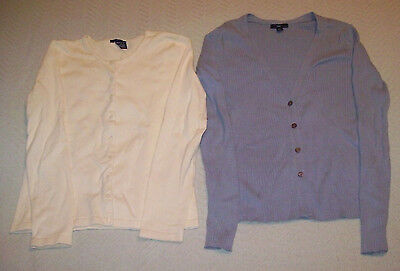 Lot of 2 Gap Women's Cardigan Tops: Yellow Size S, Blue/Grey Ribbed Size M