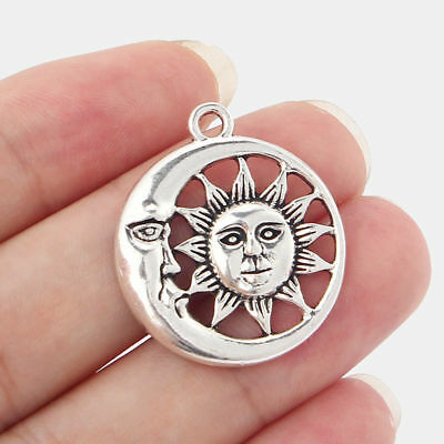 10pcs Antique Silver Moon Sun Round Charms Pendants Beads Findings 26mm
