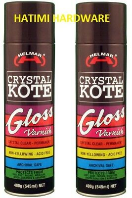 2 X CLEAR COATING GLOSS VARNISH HELMAR CRYSTAL KOTE 400g PERMANENT ACID FREE